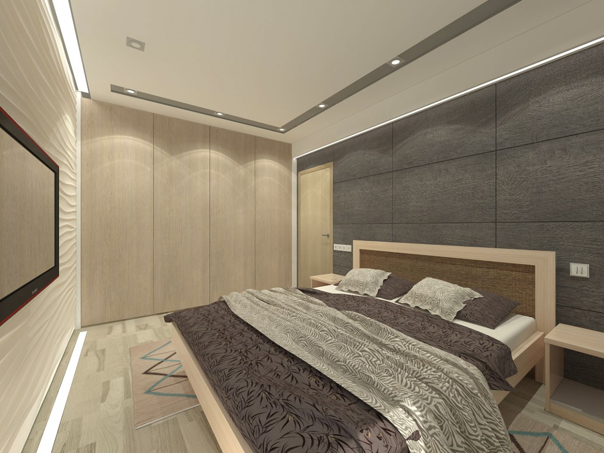 3d visualization of the project in the Apartment on the top floor of the 2015 3d max, render vray of grin-81