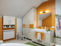 Дизайн интерьера ванной комнаты на мансарде в Чернигове.