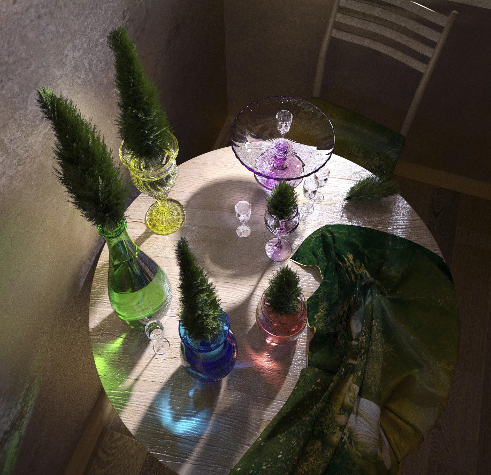 कांच और सरू के पेड़। 3d max corona render में प्रस्तुत छवि
