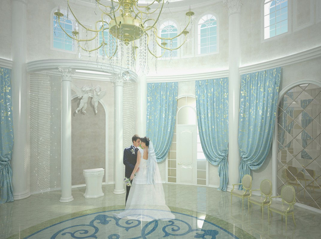 Design of a hall of a palace where people get married in 3d max vray image