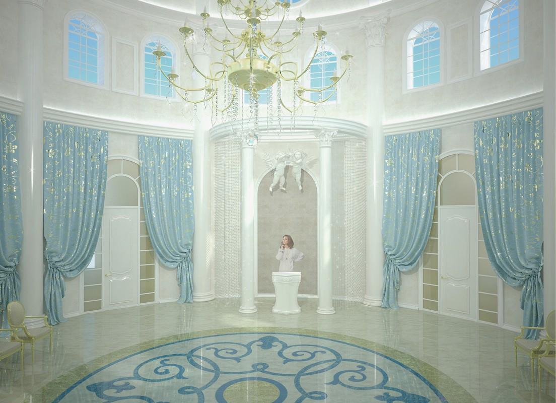 Дизайн зала дворца бракосочетания в 3d max vray изображение