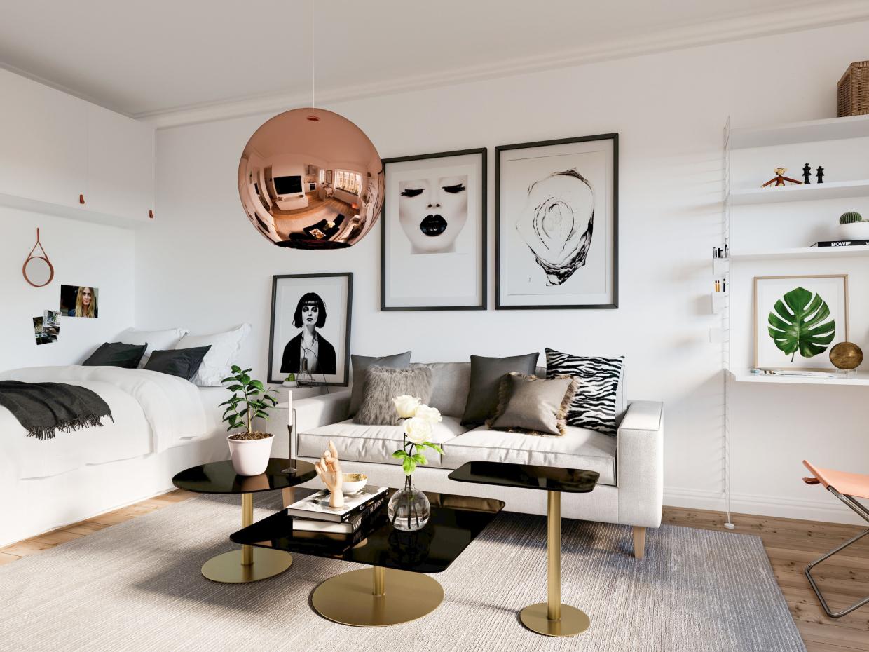 31 m2 Studio, Stockholm in 3d max corona render image