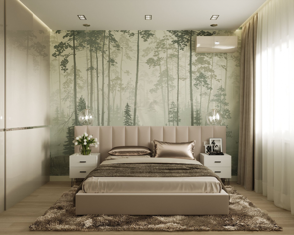 Visualization Rooms for a young couple with photo wallpaper. in 3d max corona render image