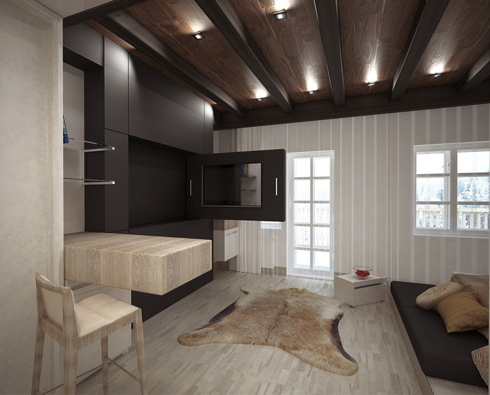 "The concept of a room in the ""Sibir"" hotel - Krasnoyarsk in 3d max vray image"