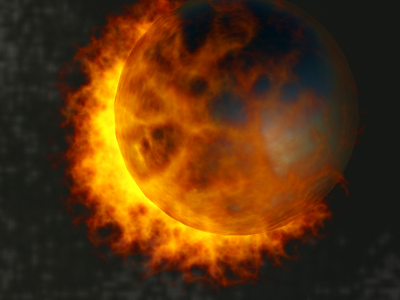 the planet is on fire in 3d max vray 2.0 image