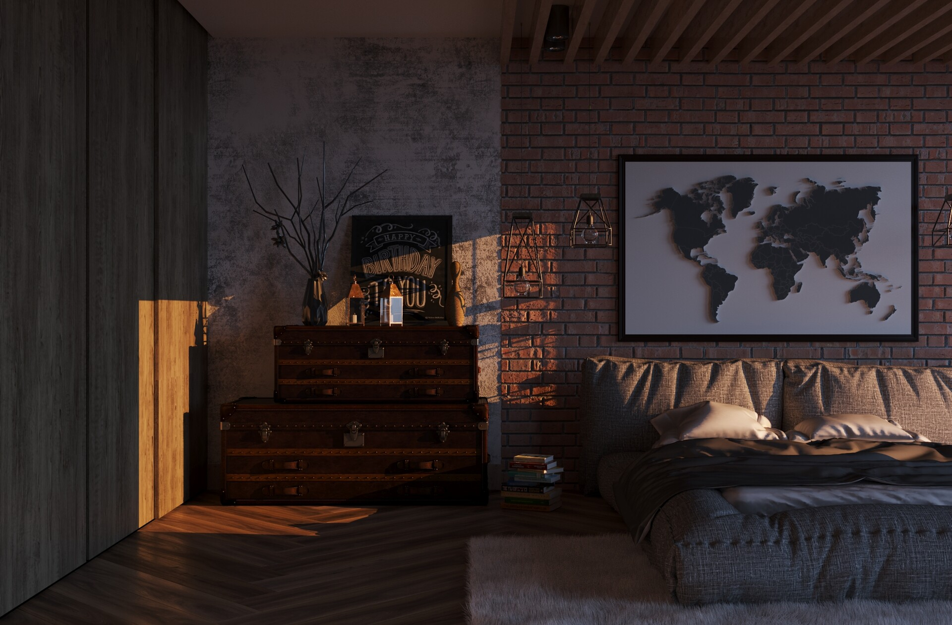 Reference visualization, loft. in 3d max corona render image