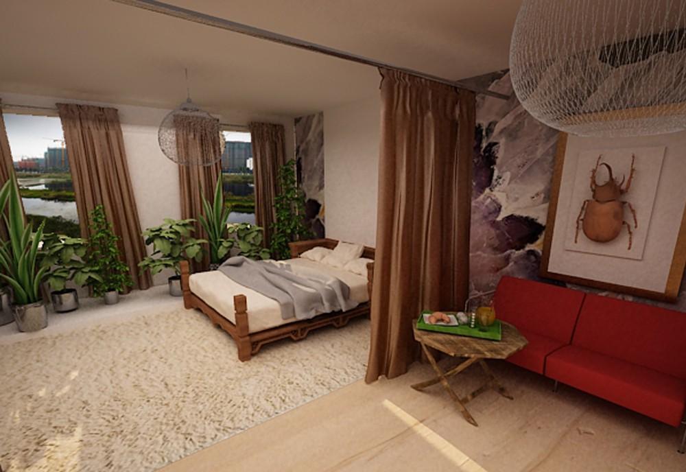 Studio apartment in 3d max vray image