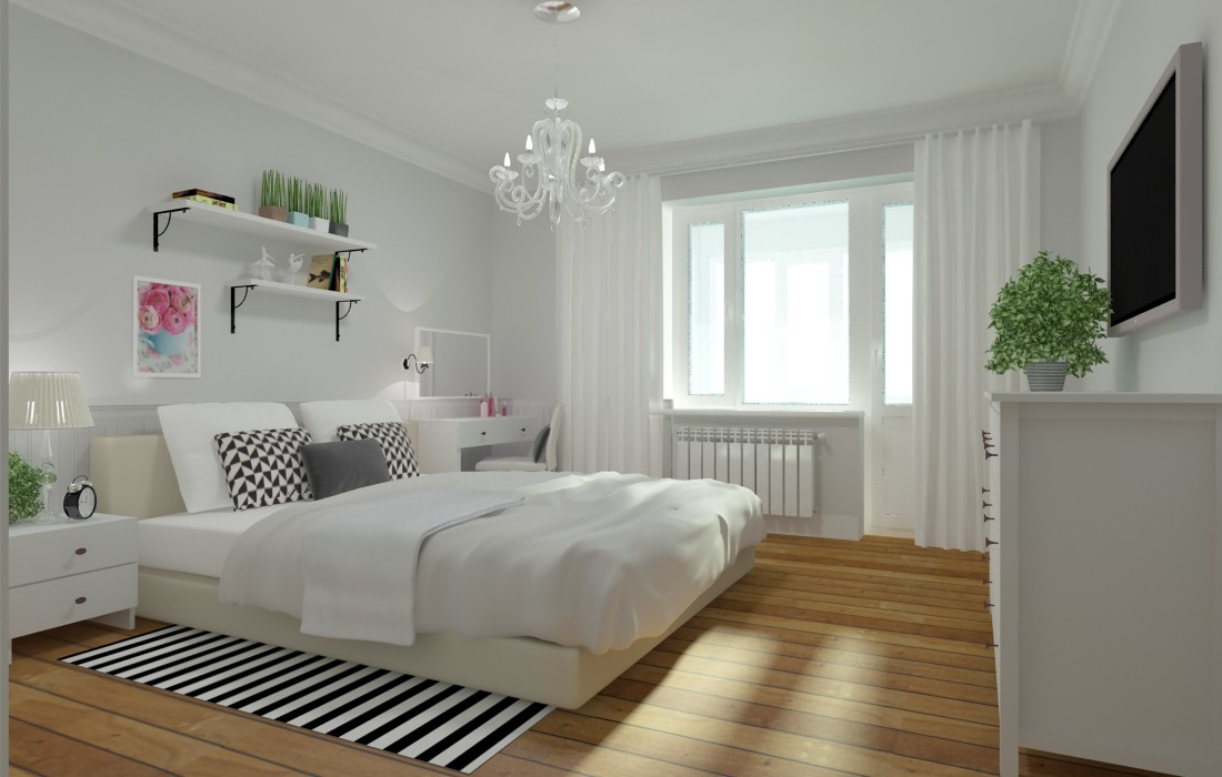 3d visualization of the project in the Bedroom 3d max, render vray of Ируля