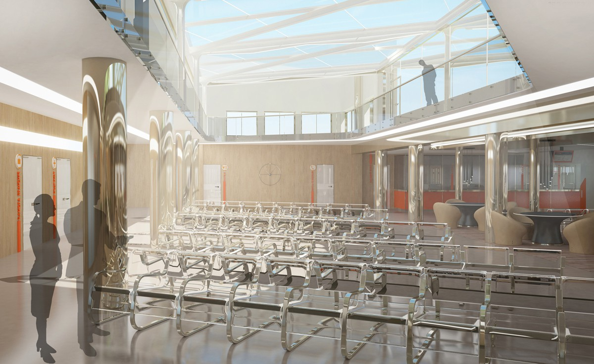 Interior of a bus waiting hall in 3d max vray image
