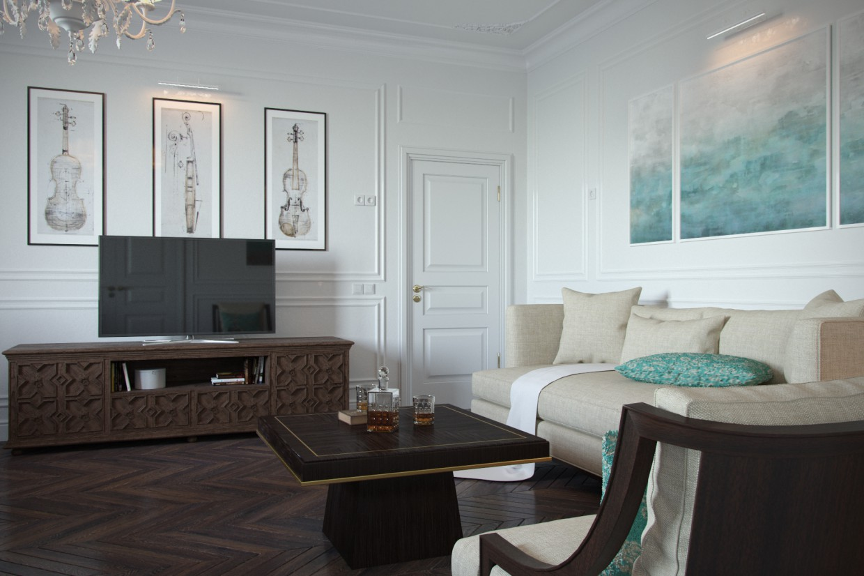 "3d visualization of the project in the White classic ""Classic"" 3d max, render corona render of GrafRaven"