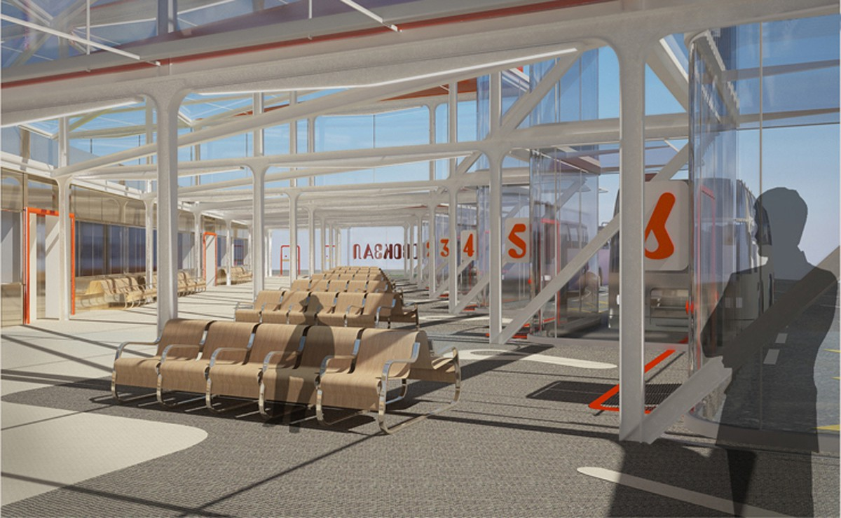 The exterior of the bus station in Krasnoyarsk in 3d max vray image