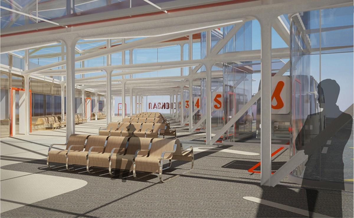 Экстерьер автовокзала в Красноярске в 3d max vray изображение
