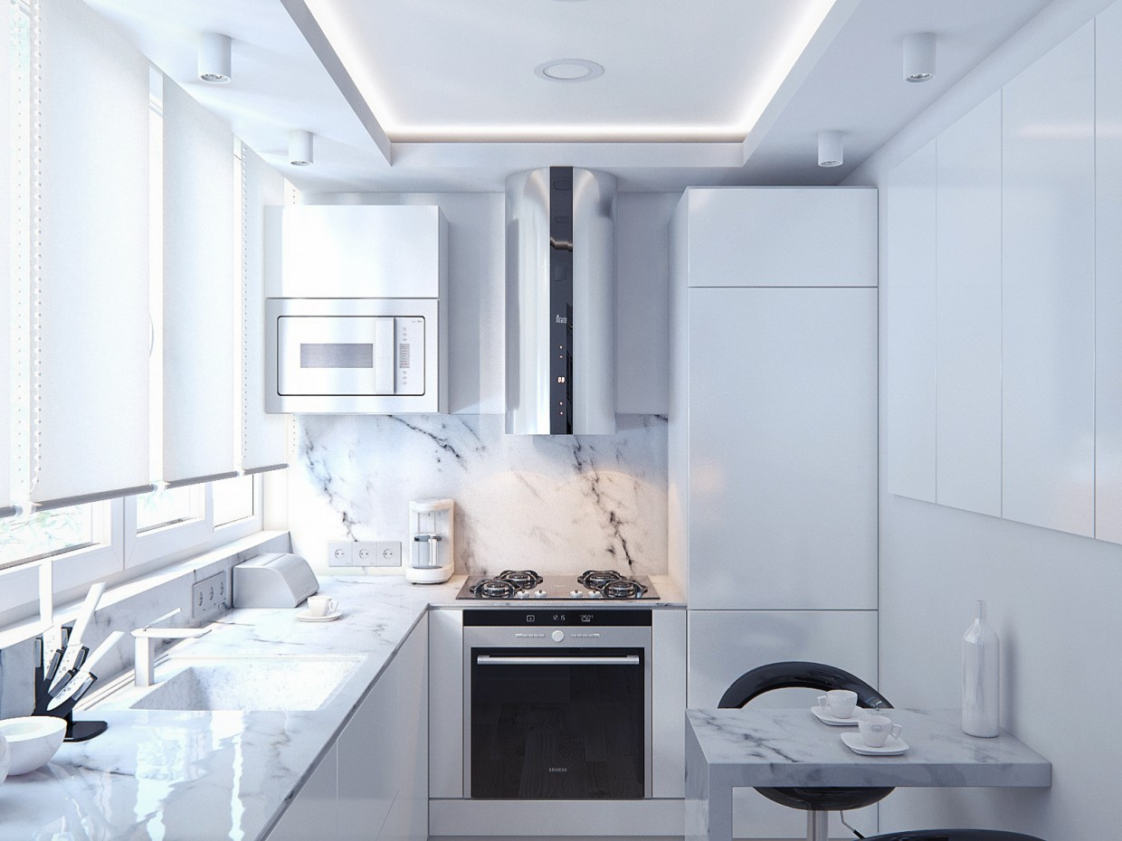 3d visualization of the project in the Small kitchen for a young family 3d max, render corona render of lenox
