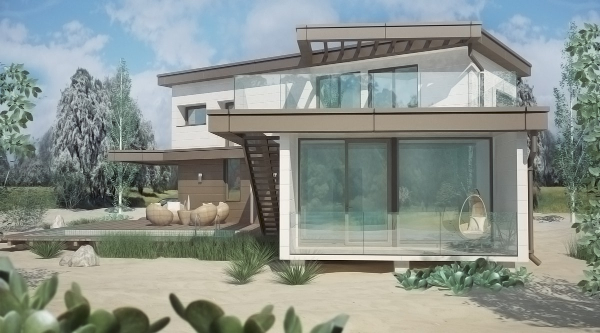 Visualisation 3d maison 136 m de conteneurs d exp dition for Exterieur maison 3d