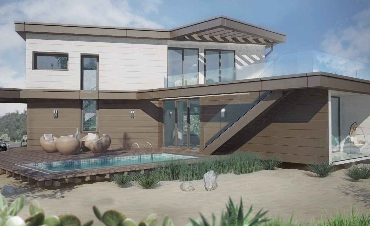 Cottage 136 sq.m. from shipping containers on the outside trim. in 3d max vray image