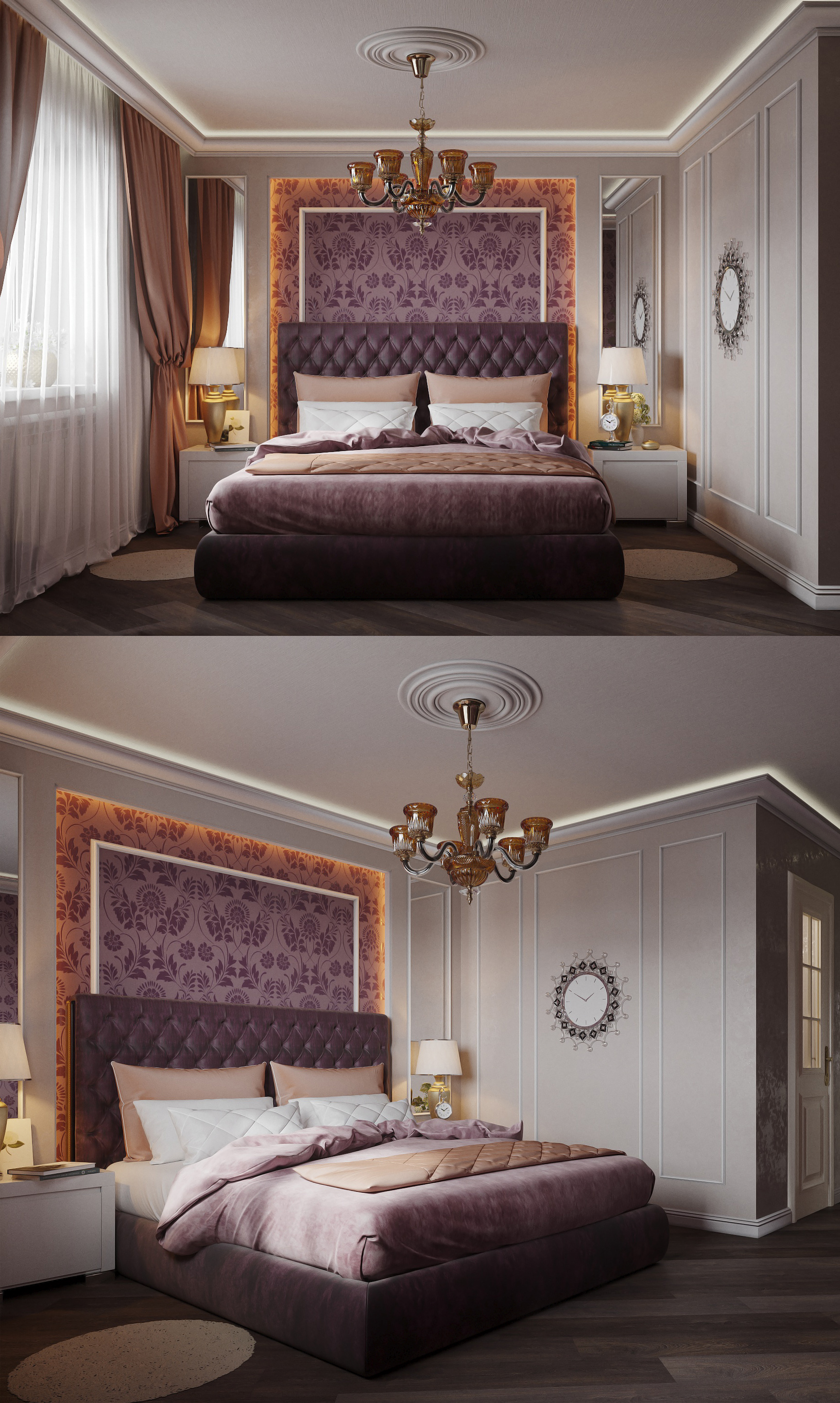 3d visualization of the project in the Bedroom 3d max, render corona render of Полина Ходина