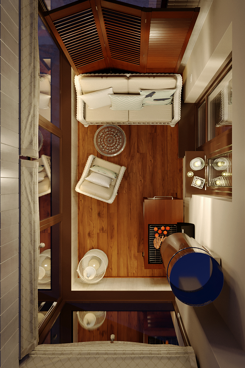 Balcony interior design in 3d max corona render image