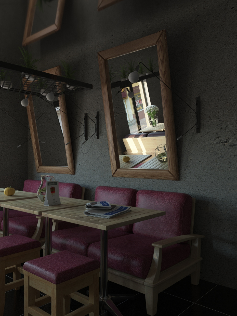 Cafe room visualization in 3d max vray 3.0 image