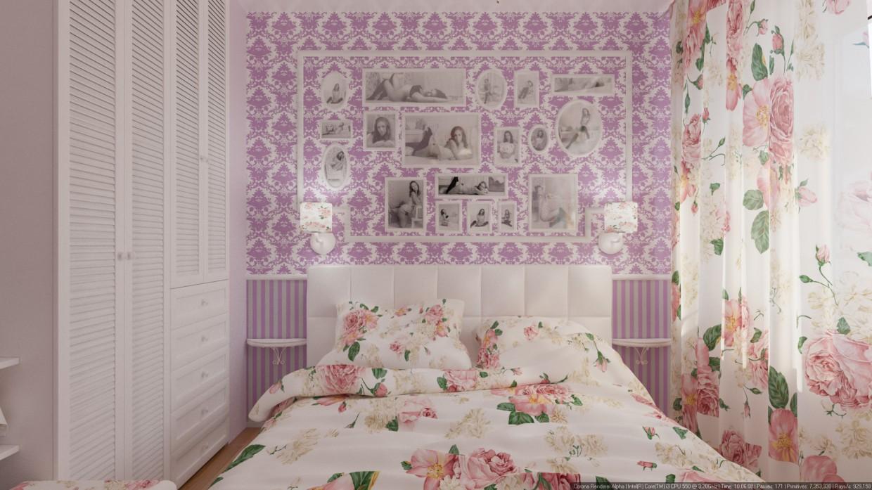 Пестрая постель в 3d max corona render изображение