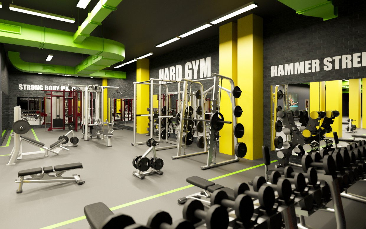 Fitness club in Cinema 4d corona render image