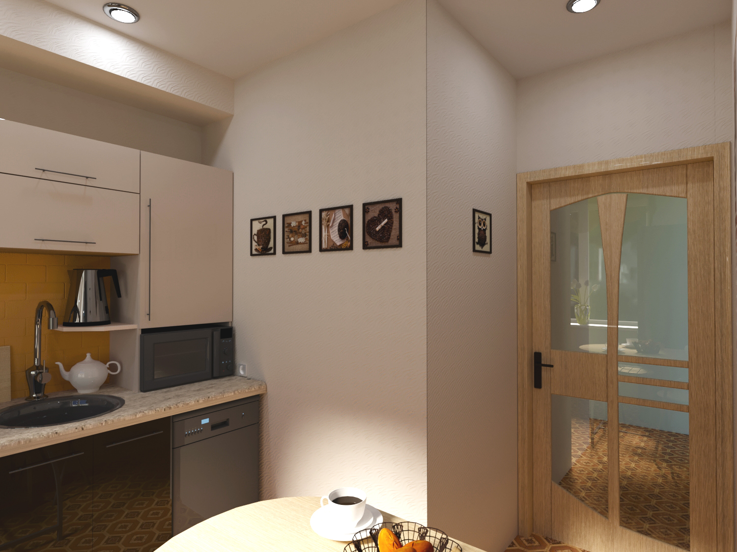 Kitchen five squares in 3d max corona render image