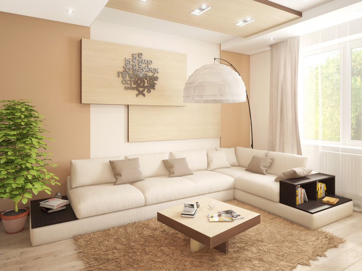 Modern living room in 3d max vray image