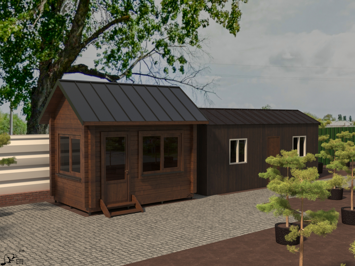 House in the garden center h3.9x4x2.5 m in 3d max corona render image
