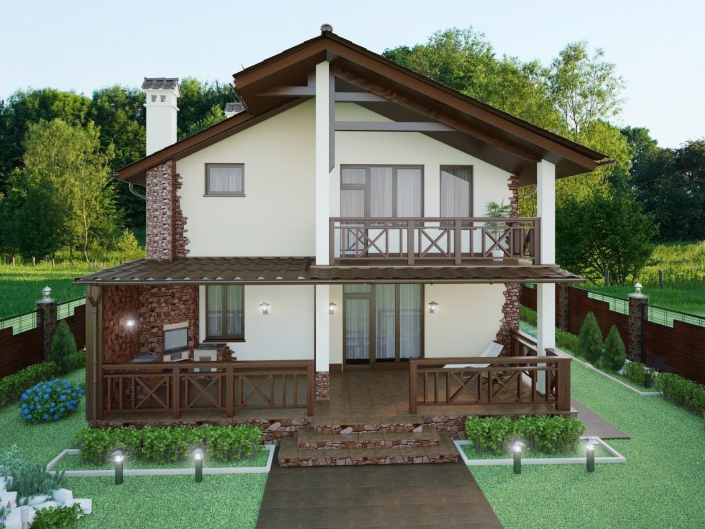 Частный дом в 3d max vray изображение