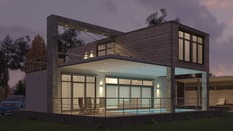 Дом из морских контейнеров с бассейном в 3d max vray 3.0 изображение
