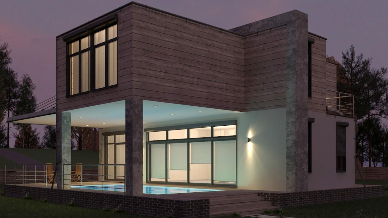 imagen de Casa de los contenedores marítimos con piscina en 3d max vray 3.0