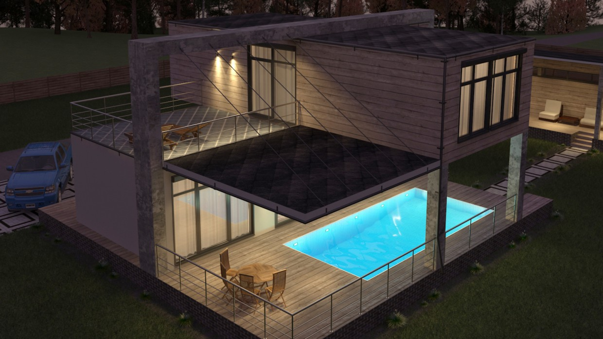 house of the sea containers with pool style. Black Bedroom Furniture Sets. Home Design Ideas