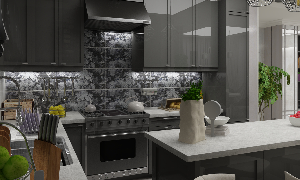 Kitchen-living room in Neoclassic style in 3d max vray 3.0 image