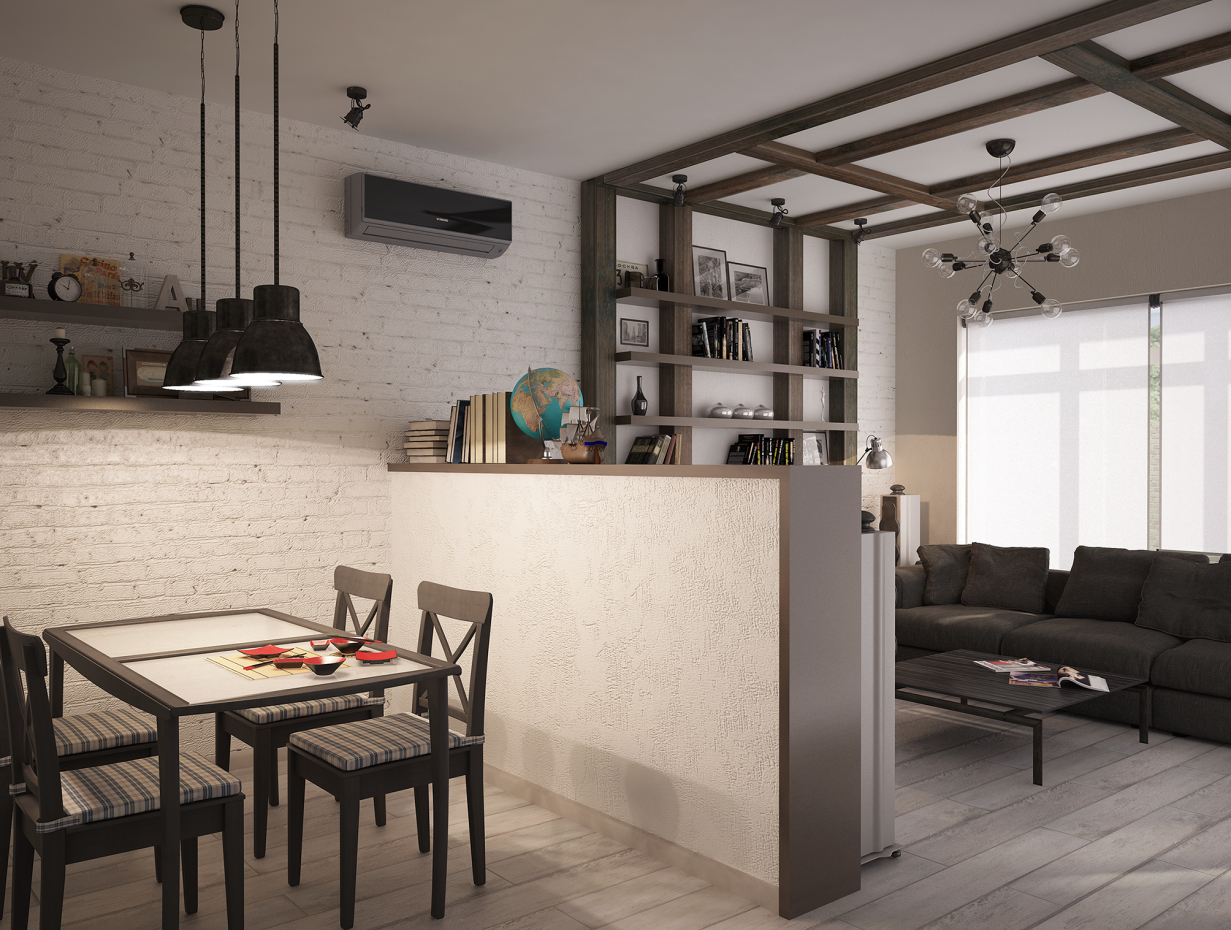 Loft dining room-living room in 3d max vray 2.0 image