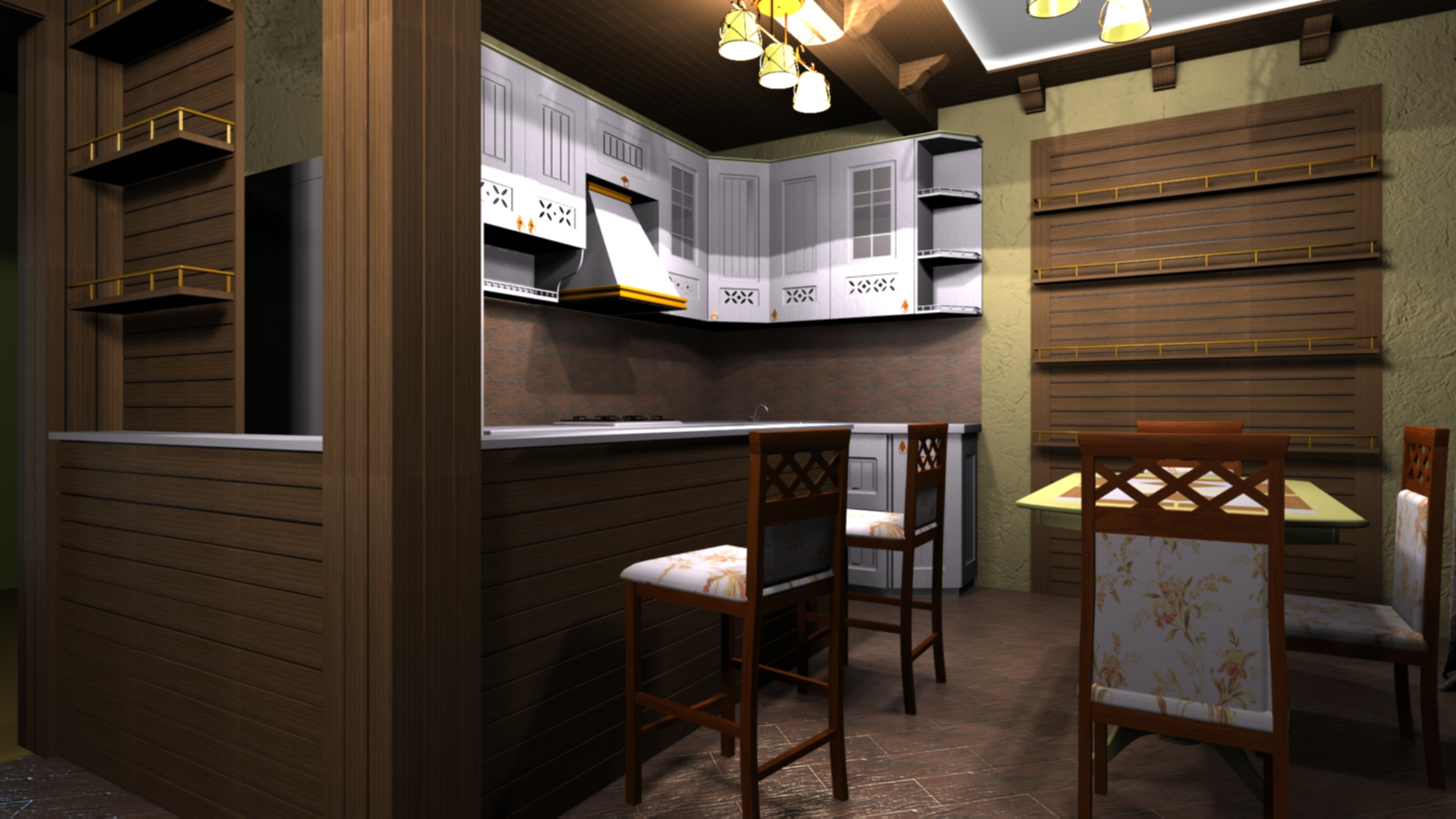 Kitchen-dining room in 3d max vray 2.0 image