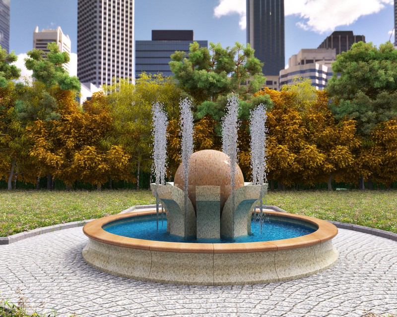 City Fountain in 3d max vray image