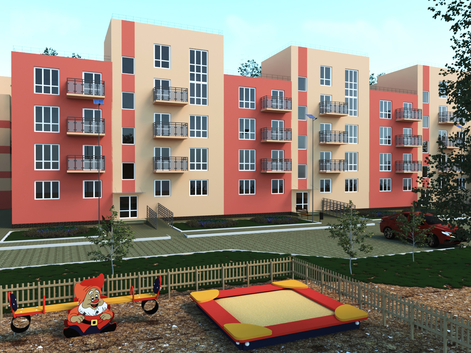 Apartment house in 3d max corona render image