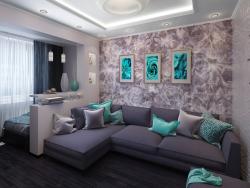 Küçük bir odalı dairede uyku alanı ile birlikte oturma odası