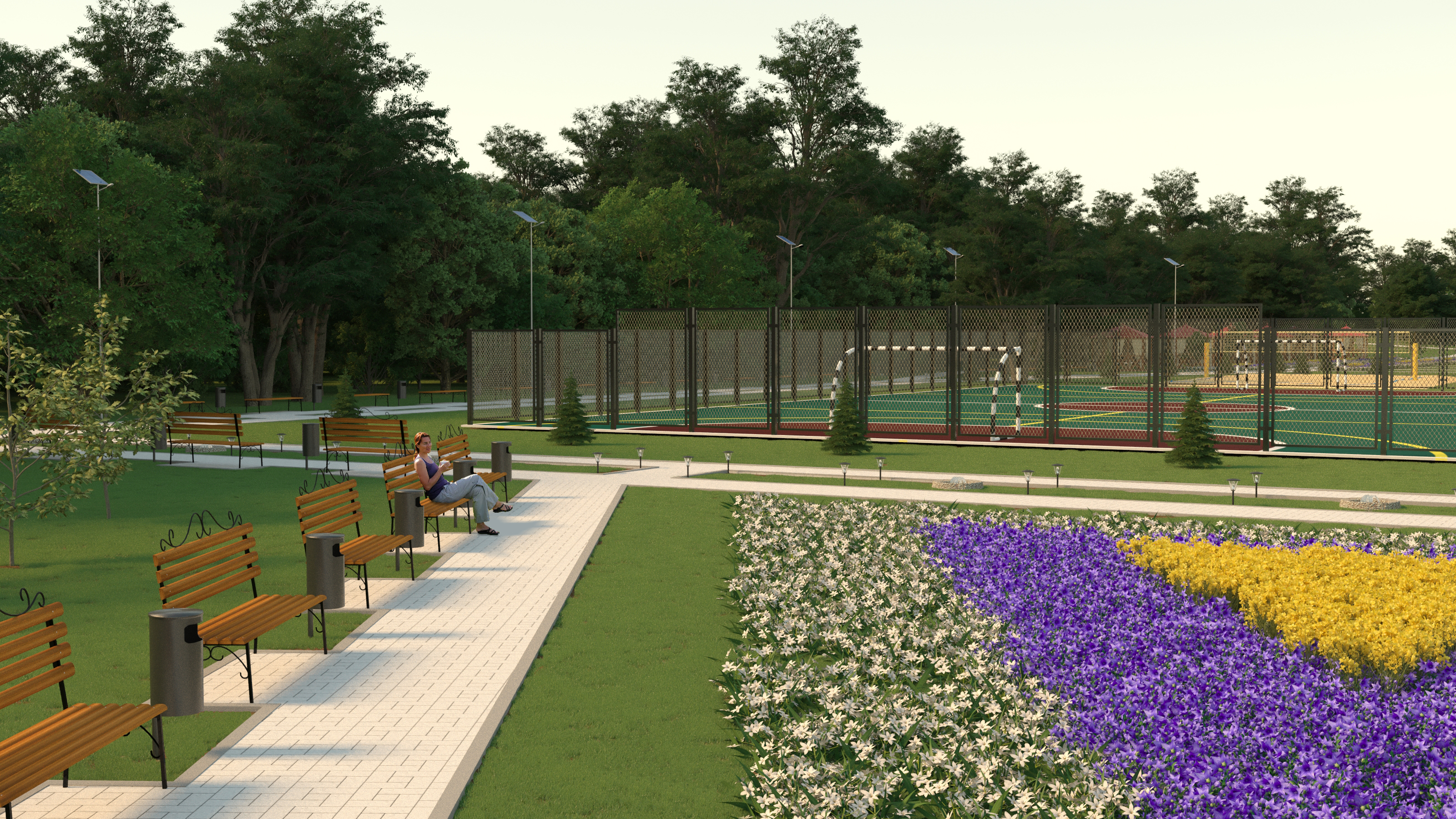 Pavilions in the park in 3d max corona render image