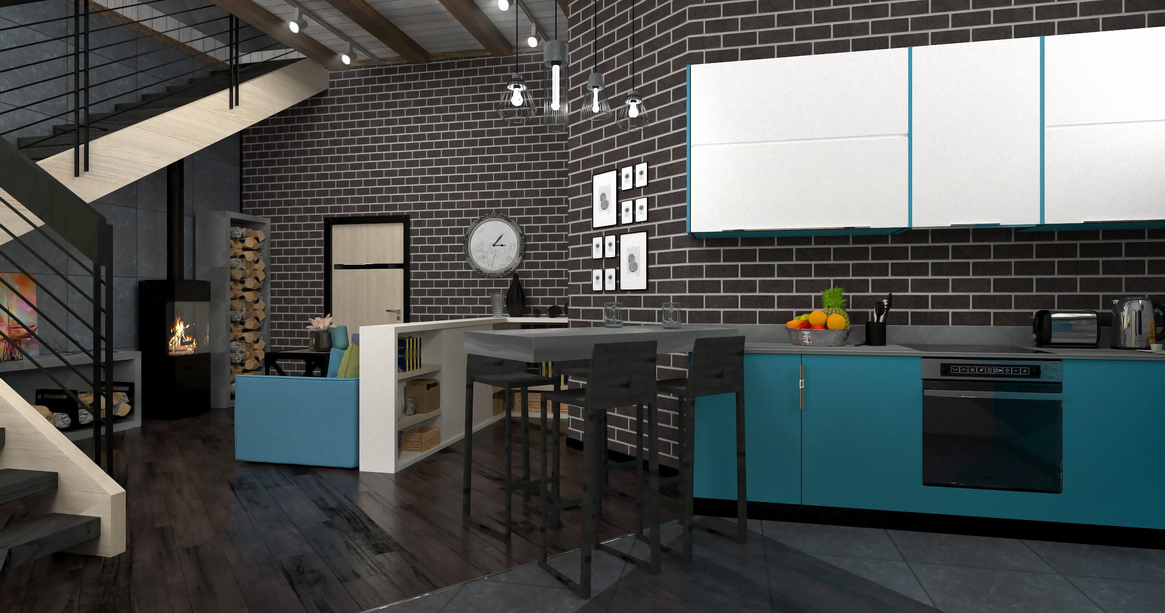 Interior of a kitchen-living room in 3d max corona render image