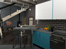 Interior of a kitchen-living room