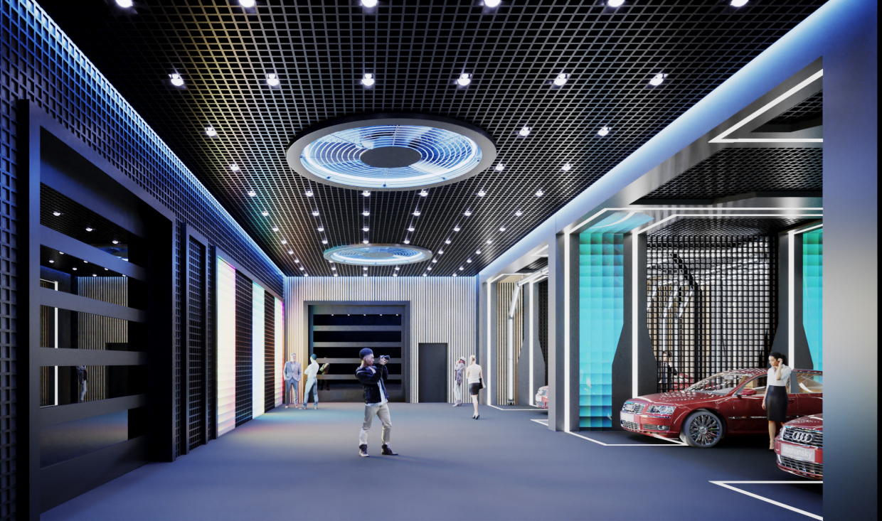 Concept ... photo studios for cars from ordinary parking in 3d max corona render image