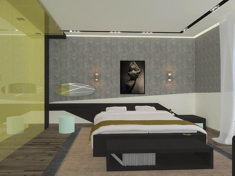 visualización 3D del proyecto en el bocetos para el dormitorio 3d max render vray yanki