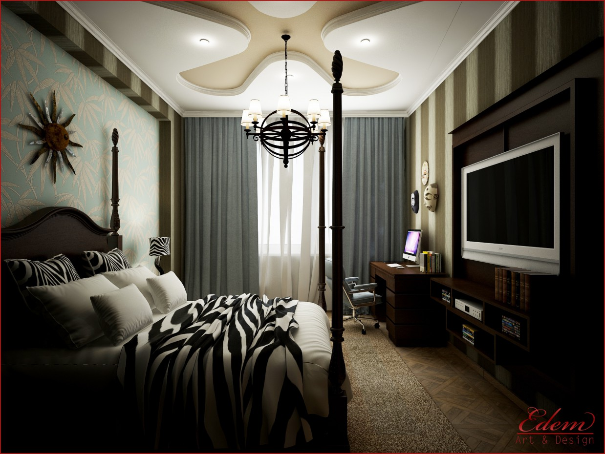 African style bedroom in 3d max vray image