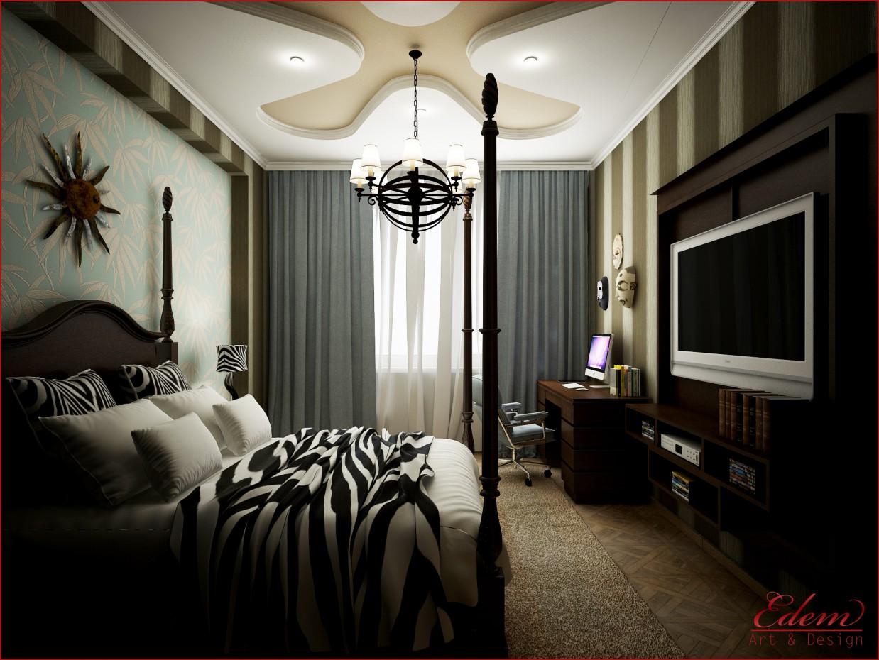 visualización 3D del proyecto en el Dormitorio de estilo africano 3d max render vray urodi