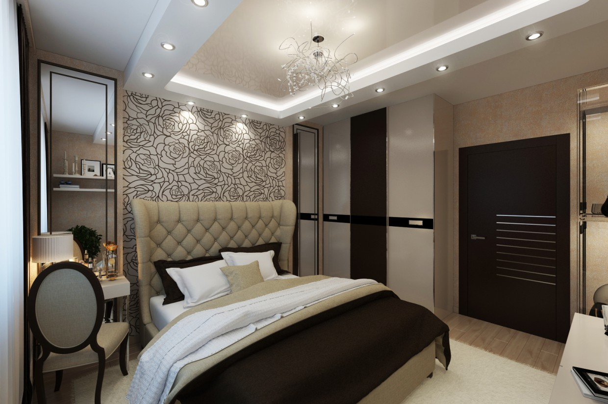 3d visualization of the project in the Bedroom, Art Deco, 14 sq.m. 3d max, render vray of koshees