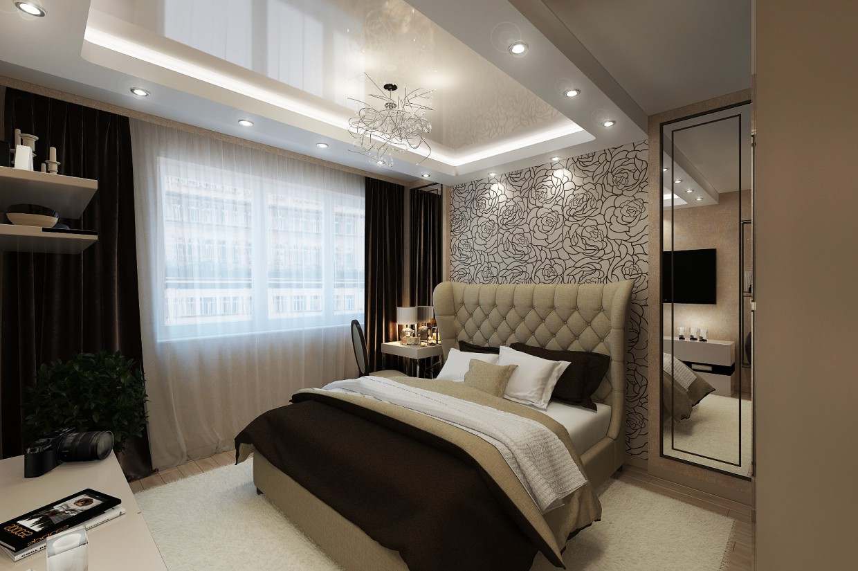 Bedroom, Art Deco, 14 sq.m. in 3d max vray image
