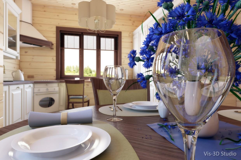 imagen de Visualización de la cocina y el comedor en 3d max vray