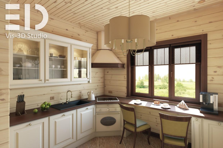 Визуализация кухни и столовой в 3d max vray изображение