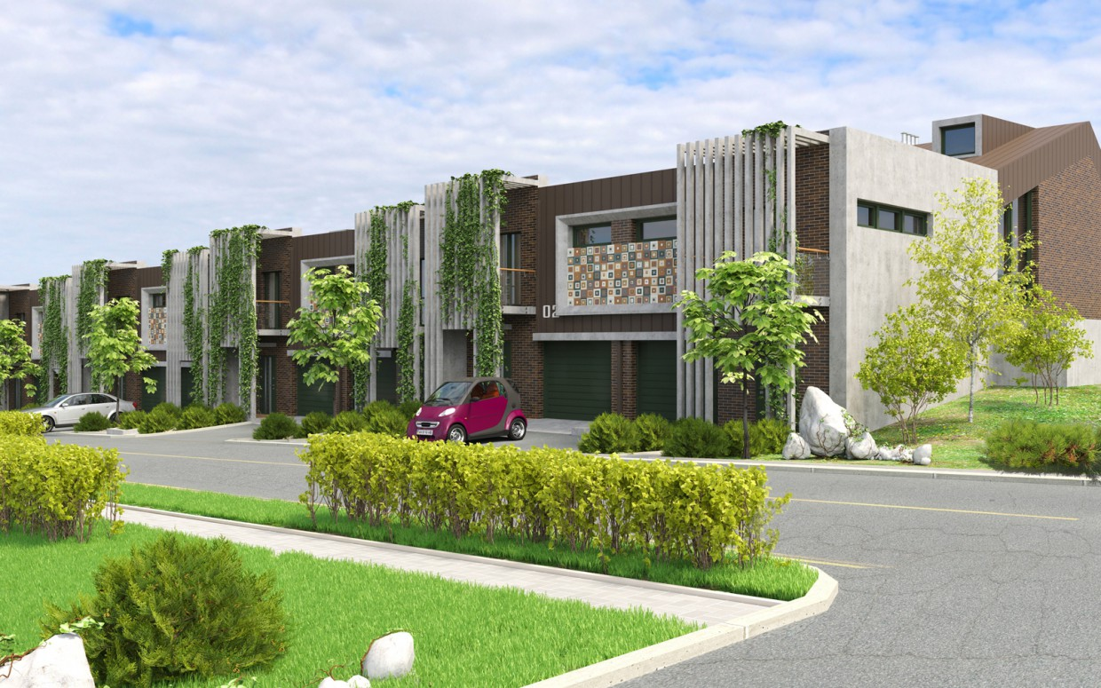 Townhouses. in 3d max corona render resim