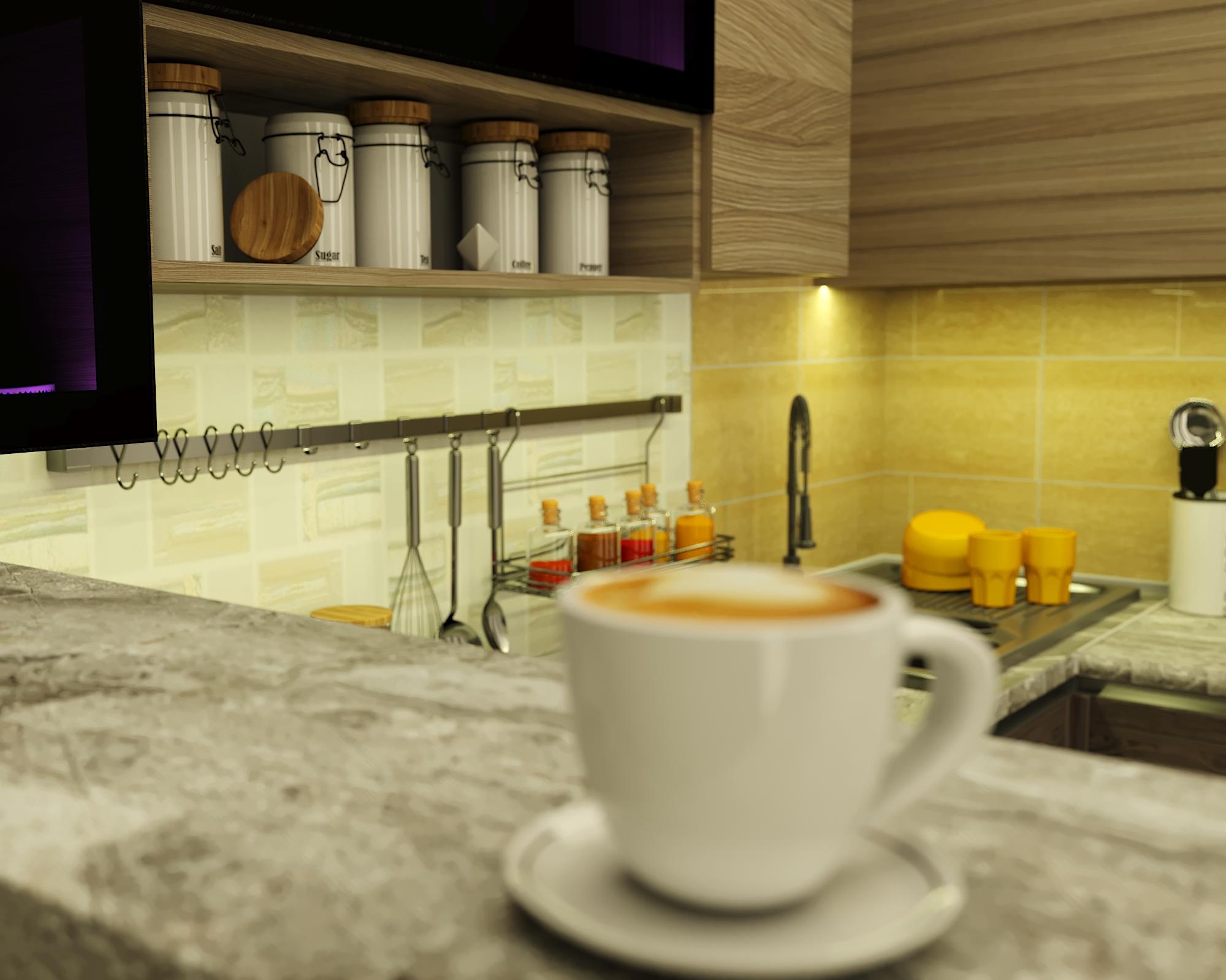 corner kitchen in 3d max corona render image